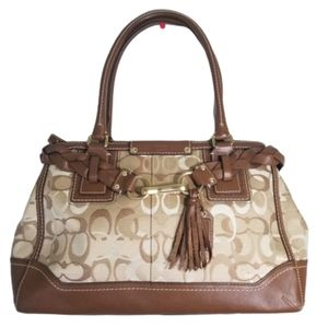 Coach Hampton Leather Jacquard Signature C Stachel